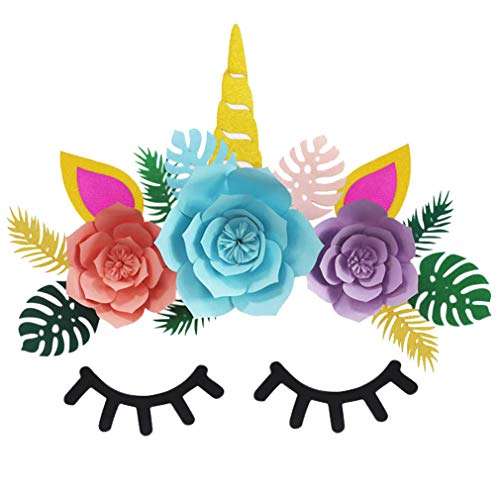 Unicorn Party Decorations Backdrop Glitter Large Horn Ears Eyelashes Face for Birthday Baby Shower Party Supplies Flower Green leaf Set Party Wall Decoration ()