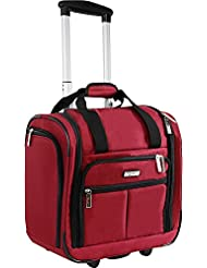 Pacific Coast Signature Underseat 15.5 Rolling Tote Carry-on, Red