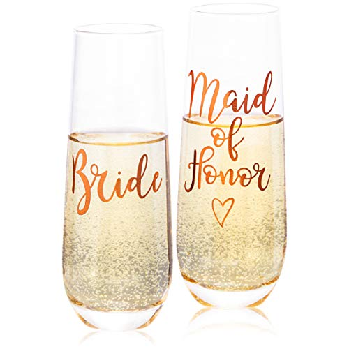 Juvale 2-Pack Rose Gold Glass Bride and Maid of Honor Stemless Champagne Wedding Flutes, 9.8 Ounces