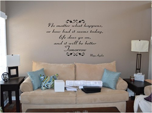 Quote It! - Maya Angelou It Will Be Better Tomorrow Inspirational Quote Saying Wall Sticker Decal Transfer Vinyl Wall Decal Vinyl Stickers Love Romance Family