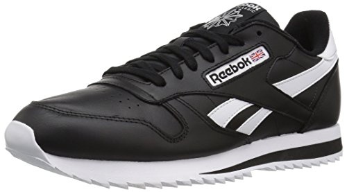 Reebok Men CL Leather Ripple Low BP Fashion Sneaker Black/White