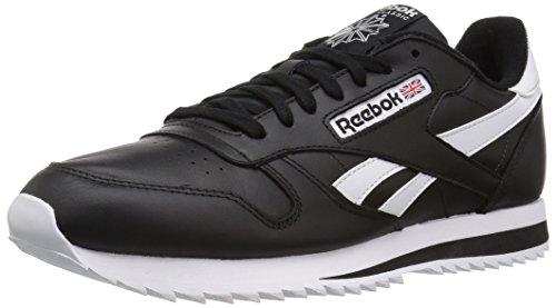 Reebok Men's CL Leather Ripple Low BP Fashion Sneaker, Black/White, 8 M US - Reebok Suede