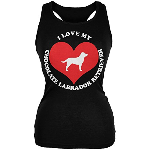Valentines I Love My Chocolate Lab Black Juniors Soft Tank Top - X-Large