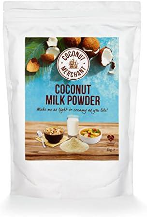 1 kg Coconut Merchant Leche de coco en polvo Alternativa de leche en polvo vegana | para curry, sopas, salsas, batidos y bebidas | Vegano | De origen ético | Versátil, bébalo,