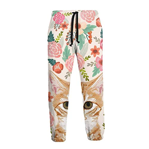 (Tabby Cat Spring Florals Cute Girly Cats Mens Sports Jogger Pants Casual Graphic Trousers Sweatpants with Drawstring Black)