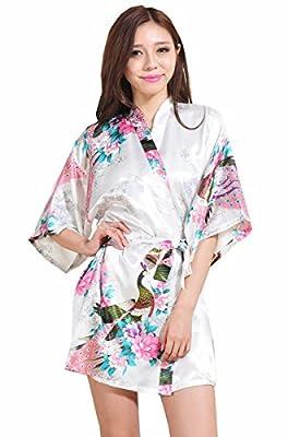 Zhongde Women's 3/4 Sleeve Peacock Floral Bridal Kimono Robe Silky Satin Short Bathrobe