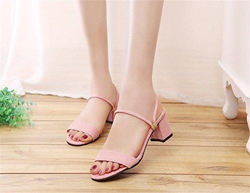 Épais Tempérament Soirée Pantoufles Deux Daim 34 xie Sandales 39 pink Femmes Robes Porter D'été Chaussures Sandales De Talon Mode ZqnIt6ng