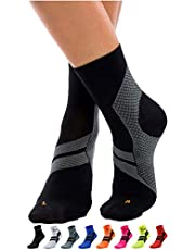 ZaTech Plantar Fasciitis Sock, Compression Socks for Men & Women. Heel, Ankle & Arch Support. Increase Blood Circulation, Reduce Swelling, Foot Pain Relief. (Black/Gray, Medium)