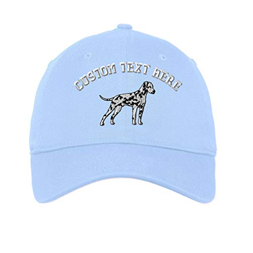 Dalmatian Embroidery (Custom Dalmatian Embroidery Design Unisex Adult Flat Solid Buckle Cotton 6 Panel Unstructured Baseball Hat Adjustable Cap - Light Blue, One Size)