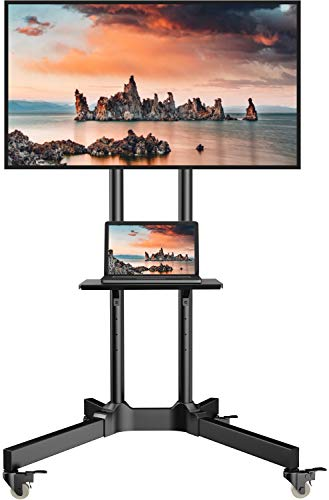 Mobile TV Cart with Wheels for 32-65 Inch LCD LED Plasma Flat Screen TVs- Height Adjustable Rolling TV Stand Hold Up to 132 lbs- Floor Stand with Tray Max VESA 600x400mm (Rack Stand Tv)