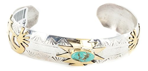 Delicate $510 Retail Tag 12kt Gold Filled and Silver Authentic Kokopelli Handmade Made by Genevieve Jones Navajo Natural Turquoise Native American Bracelet