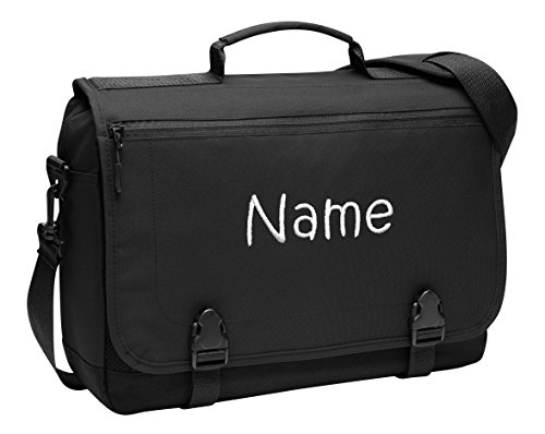 Personalized Black Port Authority Messenger Briefcase with Embroidered Name