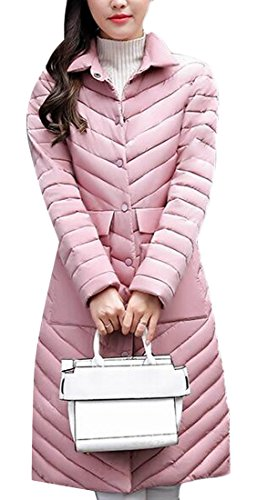 Long Women's amp;S M Down Collar Ultralight Stand Packable Jacket amp;W Pink q6WwSFRU