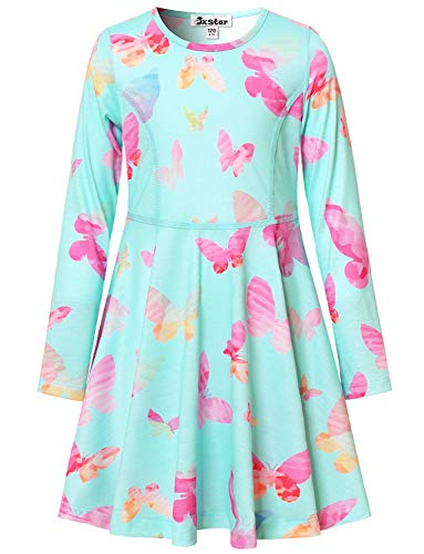 Butterfly Dresses for Girls 4t 6t Kids Birthday Casual Cotton Clothes Blue -