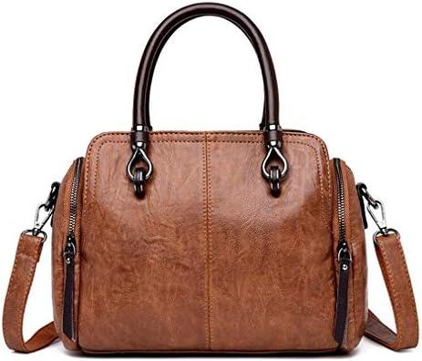 婦人用レザーハンドバッグ、レディースメッセンジャーバッグ、ヨーロッパとアメリカのトレンドレトロウィンドメッセンジャーバッグ、ブラウン、27 * 20 * 11 Cm 美しいファッション