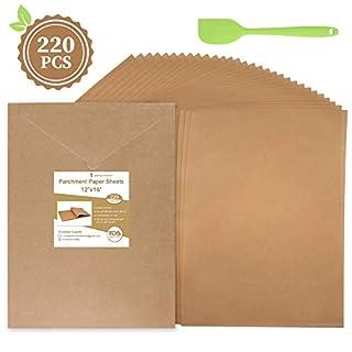 Baking Parchment Paper Sheets, Unbleached Precut Parchment Paper for Baking 12 x 16 Inches Non-Stick Cookie Parchment Sheets for Cooking 220 Pcs, Convenient Cardboard Packaging with Oil Scraper Bonus