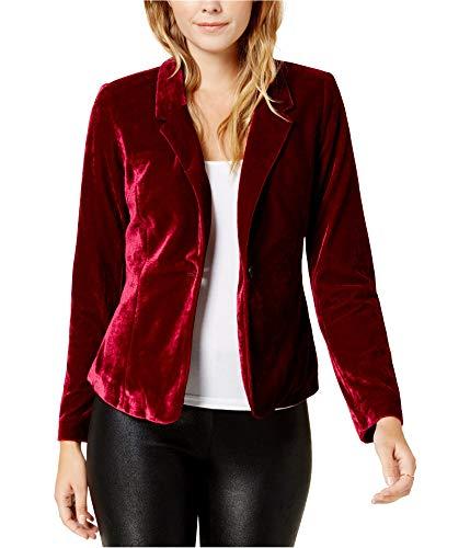kensie Womens Fall Velvet Blazer Red XS