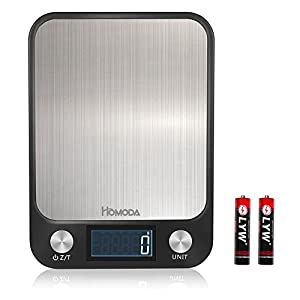 Homoda Premium Digital Kitchen Scale, Highly Accurate Multifunction Food Scale, Large Platform with Easy-to-Read LCD Display, 11lb 5kg (Batteries Included) (Black)