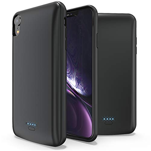 Battery Case for iPhone XR, ALLEASA 5000mAh Protective Charger Case (6.1 inch) Portable Charging Case Extended Battery Pack for iPhone XR, Magnetic Top-Cover Design-Black