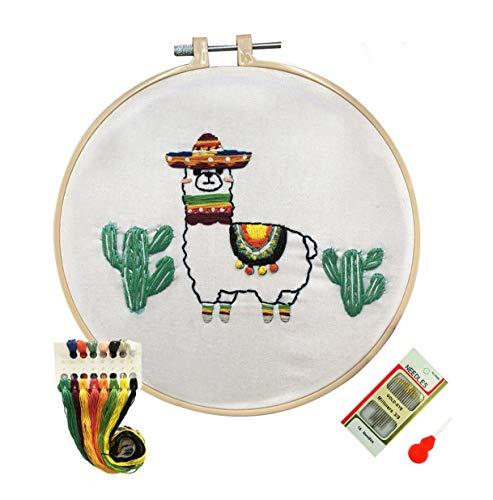 Louise Maelys Llama Embroidery Kit with Floss Needles for Beginners Full Range Kits Cross Stitch Starter Kit Alpaca Cactus