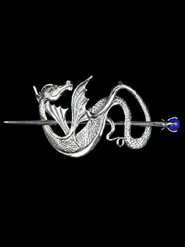 Silver Dragon Hair Clip Wyvern Dragon Barrette by Marty Magic Jewelry