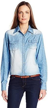 Wrangler Women's Premium Long Sleeve Chambray Arrow Print Woven Shirt