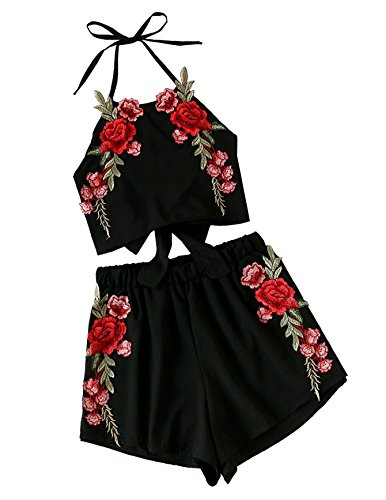 SweatyRocks Women's 2 Piece Set Halter Crop Top and Shorts Set Floral Embroidered Black L