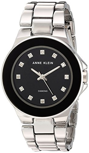 Diamond Silver Tone Watch - Anne Klein Women's AK/2755BKSV Diamond-Accented Silver-Tone Bracelet Watch
