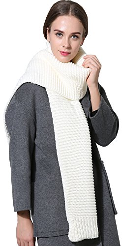 Knit Cable Long Scarf (Women Men Winter Thick Cable Knit Wrap Chunky Warm Scarf All Colors White)