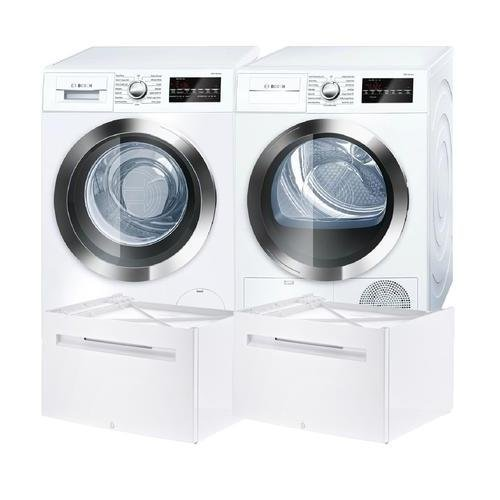 Bosch 800 Series White Front Load Compact Laundry Pair with WAT28402UC 24″ Washer, WTG86402UC 24″ Electric Condensation Dryer and 2 WMZ20490 Pedestals