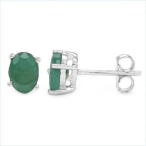 Bijoux Schmidt-Emeraude Boucles d'oreilles en argent 925 rhodié-1.70 carats