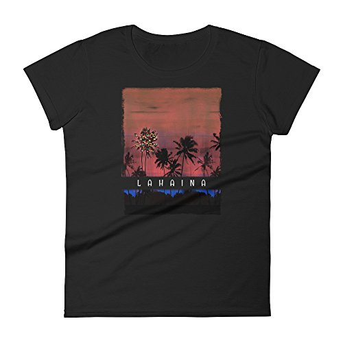 Delsee Brands & Products Christmas In Lahaina Maui Hawaii Women's Short Sleeve t-Shirt Holiday Beach - Lahaina Shops In Maui