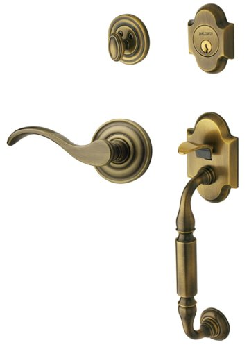 - Baldwin 85305.050.Rent Canterbury Sectional Trim Right Hand Handleset with Wave Lever, Satin Brass and Black
