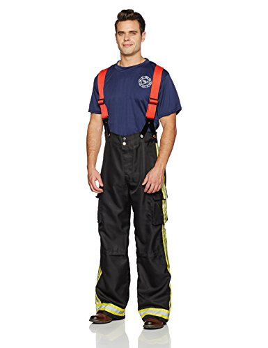 Leg Avenue Men's 3 Piece Fire Captain Costume, Black/Red, Medium/Large (Best Mens 80's Costume)