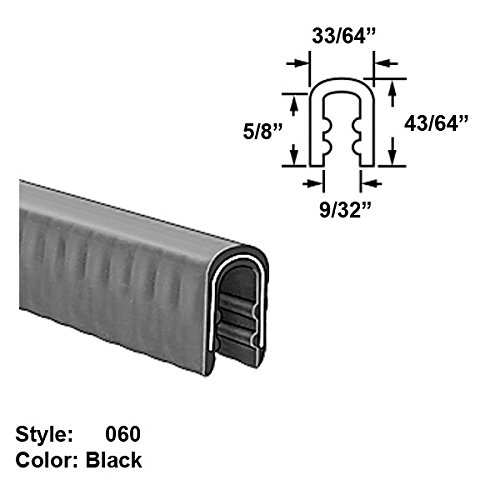 Heavy Duty Rubber High-Temperature U-Channel Push-On Trim, Style 060 - Ht. 43/64'' x Wd. 33/64'' - Black - 10 ft long