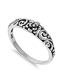 Sterling Silver Women's Simple Plain Flower Ring Promise 925 Band 5mm Sizes 2-13