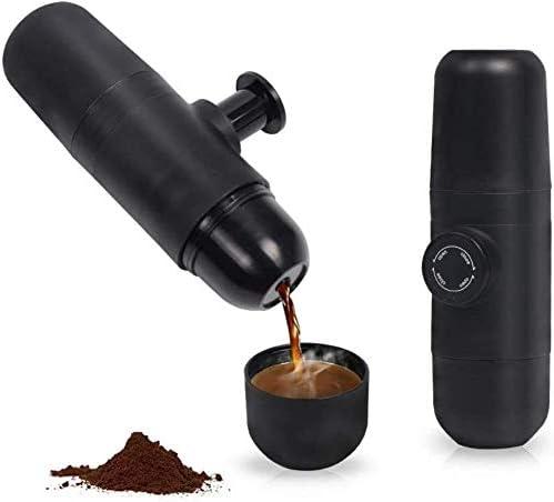 Gzh Tragbare Espressomaschine, manuelle Kaffeemühle, Klein Reise Kaffeemaschine, Operated manuell von Kolben Aktion.Für tragbare Reise-Camping Home, Büro (Color : Black)