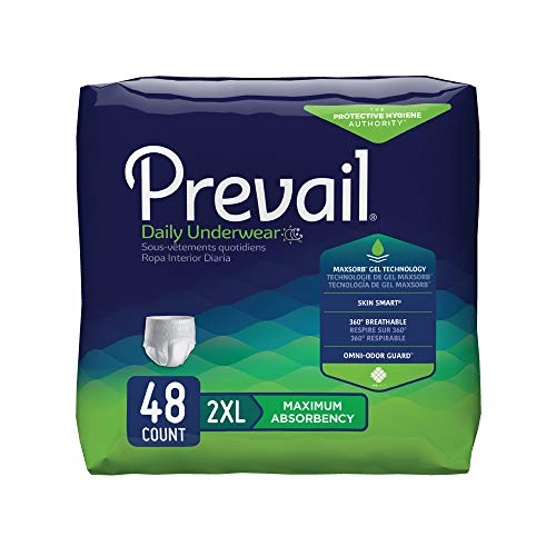 - Prevail Maximum Absorbency Incontinence Underwear 2X-Large 12 Count (Pack of 4) Breathable Rapid Absorption Discreet Comfort Fit Adult Diapers