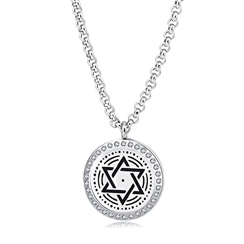 - Mesinya (30mm)Essential Oil Diffuser Necklace Aroma Hypo-Allergenic Magnetic Locket Pendant With 24'' Chain&Pads (Star Of David W/Crystal)