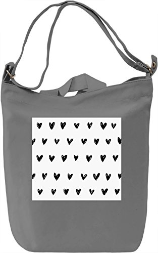 Hearts Print Borsa Giornaliera Canvas Canvas Day Bag| 100% Premium Cotton Canvas| DTG Printing|