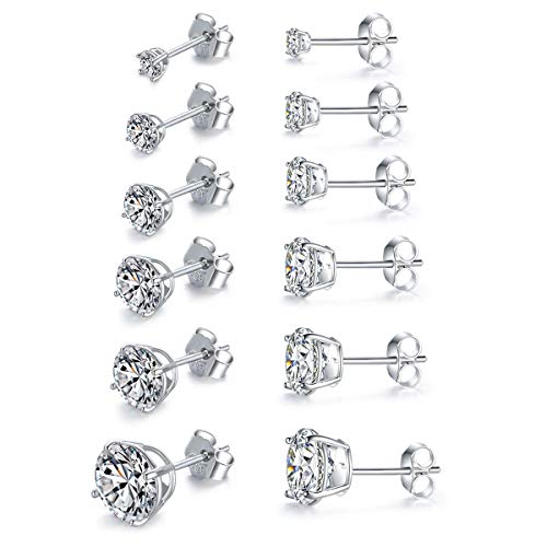 - MASOP Sterling Silver Round Clear Cubic Zirconia CZ Stud Earrings Set White Crystal for Men Women 6 Pairs (3mm-8mm)