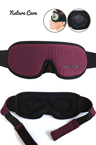 Breathable Membrane - 2019 Nature Care Sleeping Mask with Breathable Membrane and Elastic Strap with Padded 3D Contoured Eye (Deep Red)