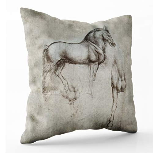 Shorping Zippered Pillow Covers Pillowcases 20X20Inch da Vinci Horse Decorative Throw Pillow Cover,Pillow Cases Cushion Cover for Home Sofa Bedding