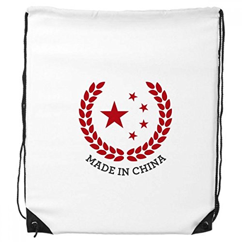 Made in China National Emblem Stars Wheat Rice Red Chinese Drawstring Backpack Fine Lines Shopping Creative Handbag Gift Shoulder Environmental Polyester Bag Wheat Fine China
