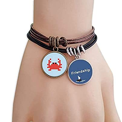 YMNW Summer Sail Little Crab Pixel Friendship Bracelet Leather Rope Wristband Couple Set Estimated Price -