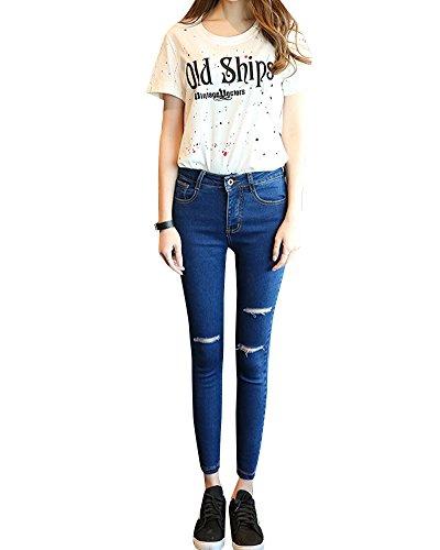 Mujeres Vaqueros Skinny Leggings Elástico Pantalones Rotos Denim Jeans De Tiro Alto Azul 3