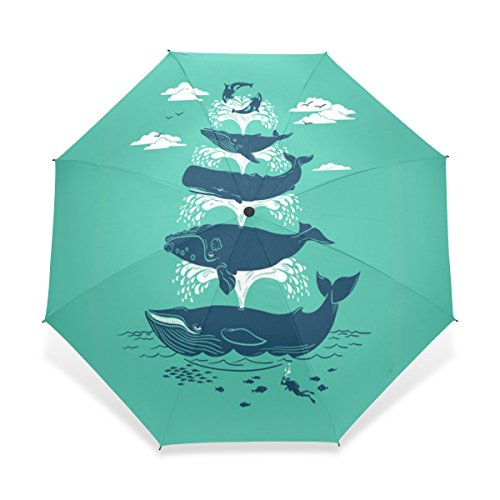 JSTEL Compact Windproof and Portable Durability Travel Foldable Rain Umbrella for Easy Carrying Whale Vintage Pattern