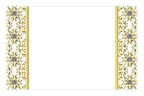 Tree26 Indoor Floor Rug/Mat (23.6 x 15.7 Inch) - Gold Gilt Frame Detailed Diamond Gem Quartz