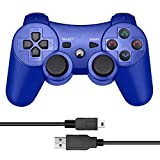 CelebFuny PS3 Controller Wireless Playstation 3 Controller Double Vibration Dualshock 3 for PS3 with Charging Cable (Blue)