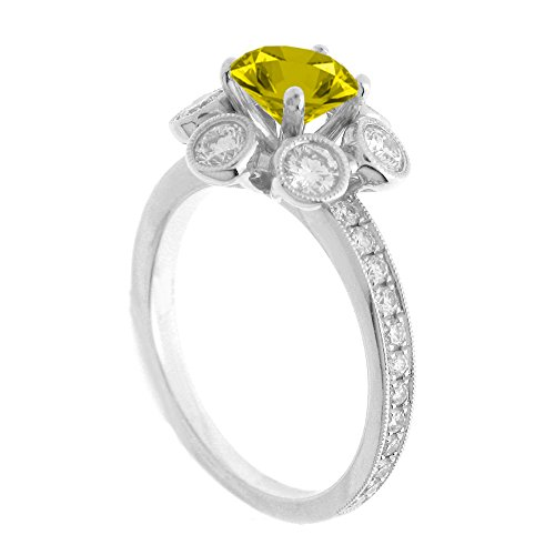 (14K White Gold 7/8ct TDW Floral Diamond Engagement Ring With 3/4ct Yellow Topaz Round Center (G, SI1-VS2))